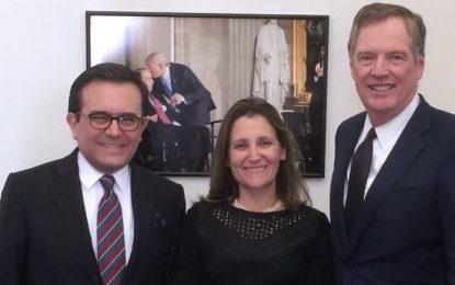 México, Canadá y Estados Unidos acuerdan profundizar el trabajo técnico  en el TLCAN