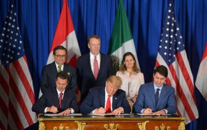 Firman el T-MEC, los presidentes de México, Estados Unidos y Canadá